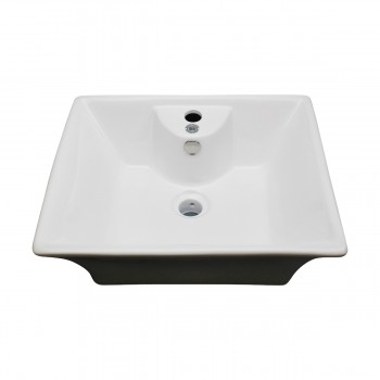<PRE>White Bathroom Vessel Basin Sink Bowl Above Counter Square with Overflow </PRE>zoom5