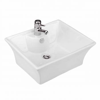 White Bathroom Vessel Basin Sink Bowl Above Counter Square with Overflow