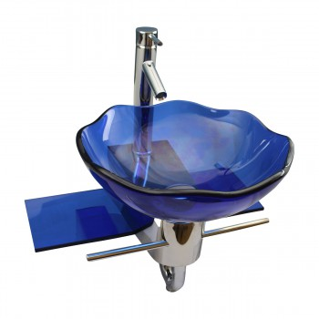 Small Wall Mount Glass Sink Blue Lotus Combo Package Blue Wall Mount Exclusive Unique Round Tempered Glass Vessel Sink Above Counter Shelf Console Sinks