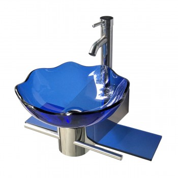 Small Wall Mount Glass Sink Blue Lotus Combo Package 10826grid