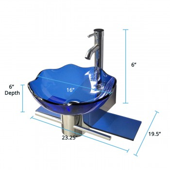 spec-<PRE>Small Wall Mount Glass Sink Blue Lotus Combo Package </PRE>