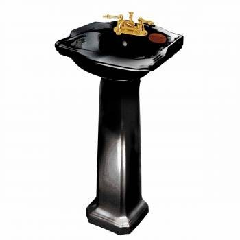Renovator's Supply Black Bathroom Pedestal Sink Porcelain 19'' Space-saving10840grid