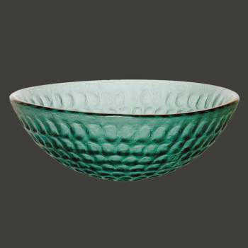 Glass Sinks - Cold Springs - Textured Frosted Emerald Green Glass Vessel Sink - Round by the Renovator's Supply