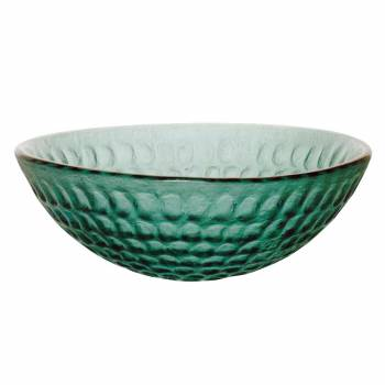 Cold Springs - Textured Frosted Emerald Green Glass Vessel Sink - Round