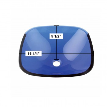 spec-<PRE>Tempered Glass Sink with Drain, Square Single Layer Blue Bayou Bowl </PRE>
