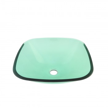 Glass Vessel Sink Tourmaline Green  Square - Glass sinks, Glass sink info & unique Glass accessories, quantity discounts on Glass sinks, Glass pedestal sinks, Glass wall mount sinks, Glass console sinks, counter top Glass sinks, Glass counter top sinks, Glass pedestal sinks, bathroom fixtures, Glass bathroom sinks, sink faucets & free shipping by Renovator's Supply.