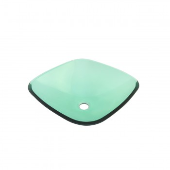 Tempered Glass Sink with Drain, Single Layer Green Square Bowl Sink bathroom vessel sinks Countertop vessel sink Glass Bathroom Sink