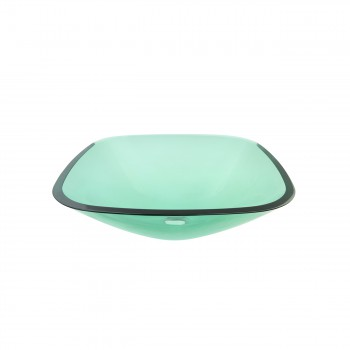 <PRE>Tempered Glass Sink with Drain, Single Layer Green Square Bowl Sink</PRE>zoom5