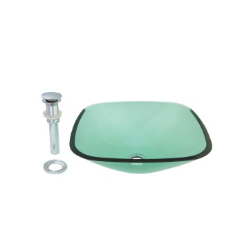 Tempered Glass Sink with Drain, Single Layer Green Square Bowl Sink10870grid
