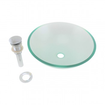 Glass Vessel Sink Havasu Clear withgreen tint Round - Glass sinks, Glass sink info & unique Glass accessories, quantity discounts on Glass sinks, Glass pedestal sinks, Glass wall mount sinks, Glass console sinks, counter top Glass sinks, Glass counter top sinks, Glass pedestal sinks, bathroom fixtures, Glass bathroom sinks, sink faucets & free shipping by Renovator's Supply.