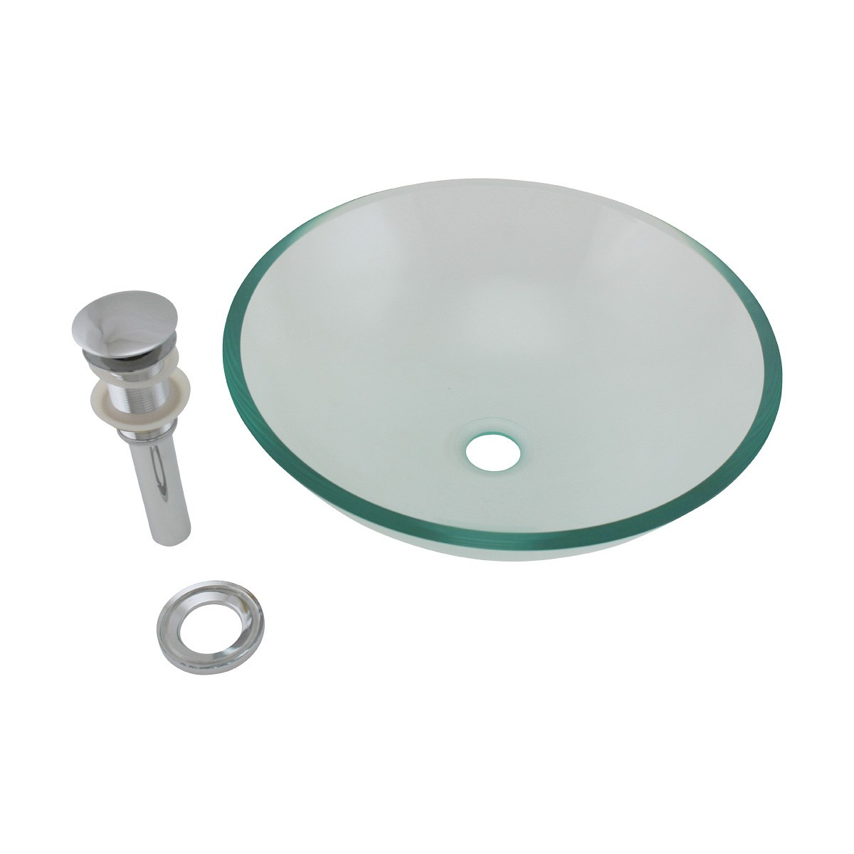 Clear Tempered Glass Vessel Sink Round Bowl Stain Resistant Chrome PopUp Drain bathroom vessel sinks Countertop vessel sink Glass Bathroom Sink