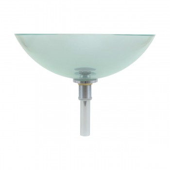 <PRE>Clear Tempered Glass Vessel Sink Round Bowl Stain Resistant Chrome Pop-Up Drain</PRE>zoom3