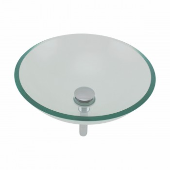 <PRE>Clear Tempered Glass Vessel Sink Round Bowl Stain Resistant Chrome Pop-Up Drain</PRE>zoom8