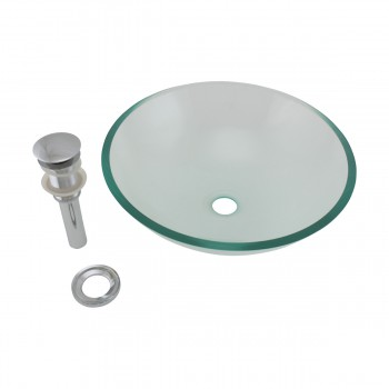 <PRE>Clear Tempered Glass Vessel Sink Round Bowl Stain Resistant Chrome Pop-Up Drain</PRE>zoom9