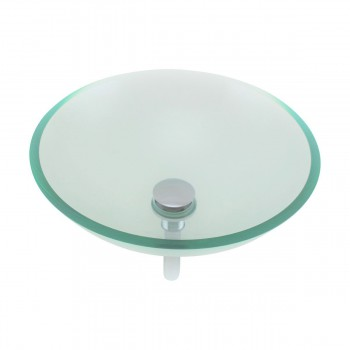 Clear Tempered Glass Sink with Drain, Round Bowl Sink 10873grid