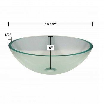 spec-<PRE>Clear Tempered Glass Vessel Sink Round Bowl Stain Resistant Chrome Pop-Up Drain</PRE>