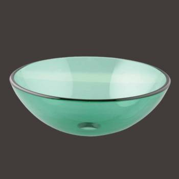 Glass Vessel Sink Tourmaline Green Round - Glass sinks, Glass sink info & unique Glass accessories, quantity discounts on Glass sinks, Glass pedestal sinks, Glass wall mount sinks, Glass console sinks, counter top Glass sinks, Glass counter top sinks, Glass pedestal sinks, bathroom fixtures, Glass bathroom sinks, sink faucets & free shipping by Renovator's Supply.