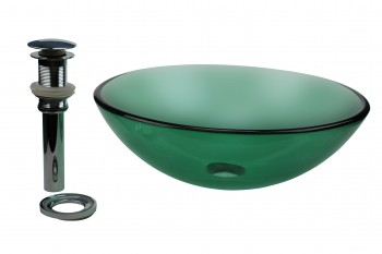 Tempered Glass Vessel Sink with Drain, Green Single Layer Glass Bowl Sink 10874grid