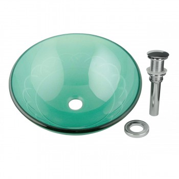 <PRE>Tempered Glass Vessel Sink with Drain, Etched Blue Round Bowl Sink </PRE>