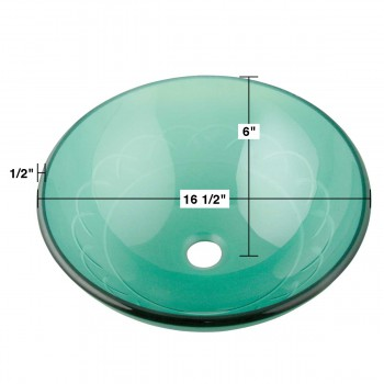 spec-<PRE>Tempered Glass Vessel Sink with Drain, Etched Blue Round Bowl Sink </PRE>
