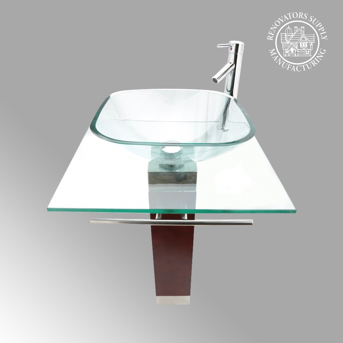 Modern pedestal bathroom sinks - Tempered Glass Pedestal Sink Chrome Faucet Towel Bar And Drain Combo