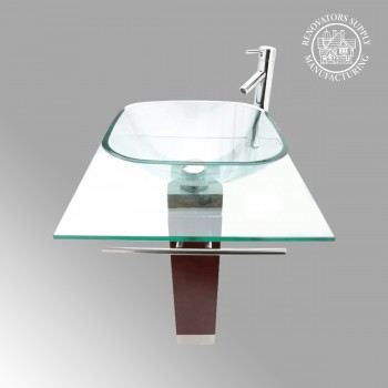 Bohemia Glass  Pedestal Sink Solid Red Oak Pedestal Clear - Floor Heat Registers, Aluminum, steel, wood and brass Floor heat registers info & free shipping by Renovator's Supply.