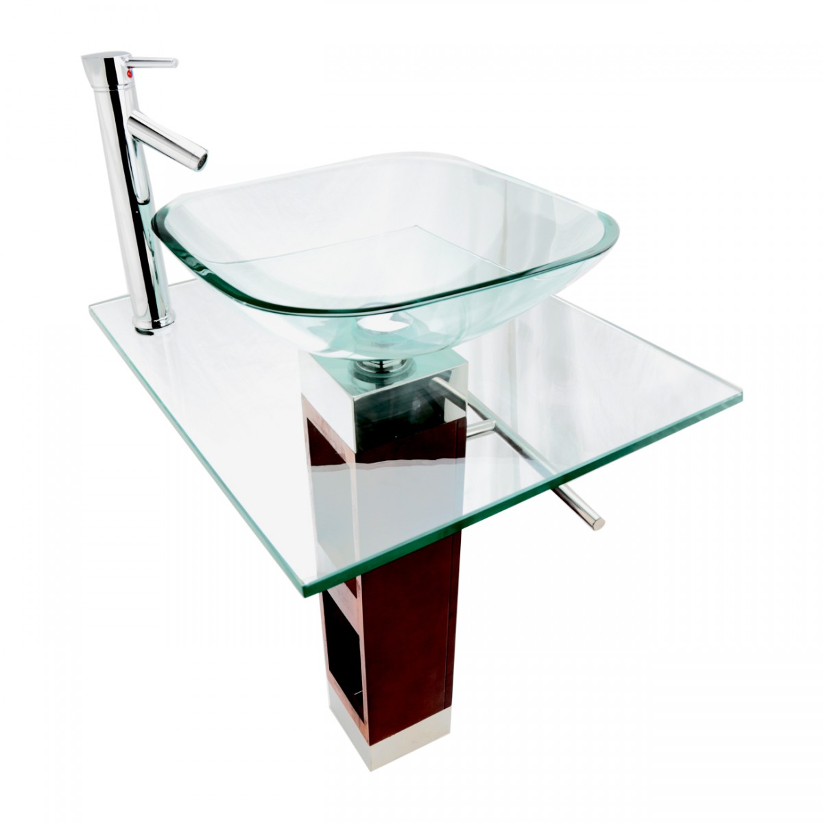 Renovators Supply Tempered Glass Bathroom Pedestal Sink with Faucet and Drain Pedestal sink with Faucet and Drain Combo Tempered Glass Pedestal Sink Glass Vanity Bathroom Sink