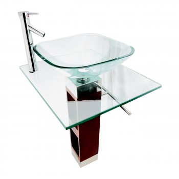 <PRE>Glass Pedestal Bathroom Sink Modern Tempered Glass with Faucet and Drain</PRE>zoom5