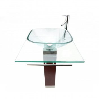 <PRE>Bathroom Vanity Top Pedestal Tempered Glass Sink with Faucet and Drain Combo </PRE>zoom1