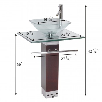 Glass Sinks - Bohemia Glass  Pedestal Sink Solid Red Oak Pedestal Clear by the Renovator's Supply