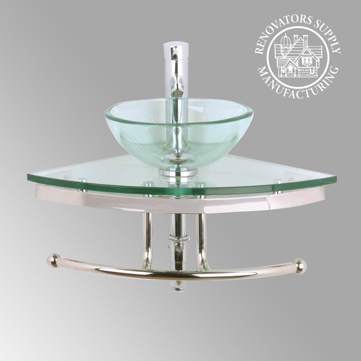 Clear Glass Sink : Bathroom Corner Clear Glass Sink Hardware Combo Wall Mount