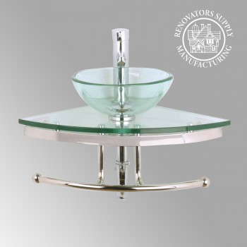 Mini Corner Glass Sink Wall Mount  Clear - Glass sinks, Glass sink info & unique Glass accessories, quantity discounts on Glass sinks, Glass pedestal sinks, Glass wall mount sinks, Glass console sinks, counter top Glass sinks, Glass counter top sinks, Glass pedestal sinks, bathroom fixtures, Glass bathroom sinks, sink faucets & free shipping by Renovator's Supply.