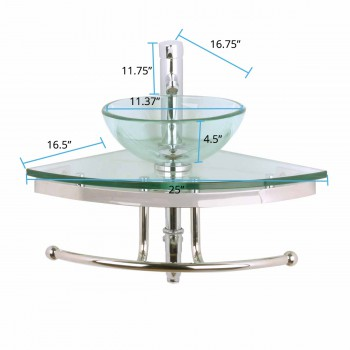 "spec-<PRE>Talula 25"" Corner Glass Wall Mounted Round Vessel Bathroom Sink with Towel Bar Faucet and Drain</PRE>"