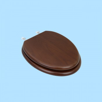 <PRE>Elongated Toilet Seat Solid Wood Dark Oak Chrome Hinge </PRE>zoom2