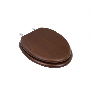 Elongated Toilet Seat Solid Wood Dark Oak Chrome Hinge 10893grid