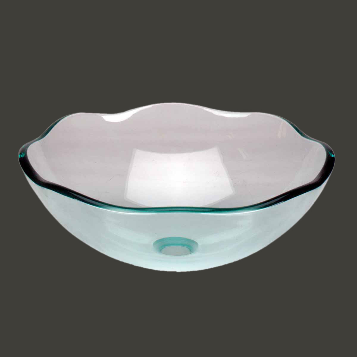 Tempered Glass Vessel Sink With Drain Green Single Layer 8 Petal Bowl Sink
