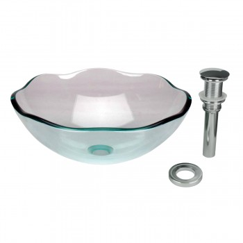 Tempered Glass Vessel Sink with Drain, Green Single Layer 8 Petal Bowl Sink 10897grid