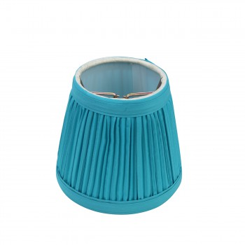 """<PRE> Small Clip-On Lamp Shade Blue Fabric Clip On Traditional Style for Chandelier Candelabra Lights 4inch H, 4 1/2"""" Base W, 3"""" Top W</PRE>"""