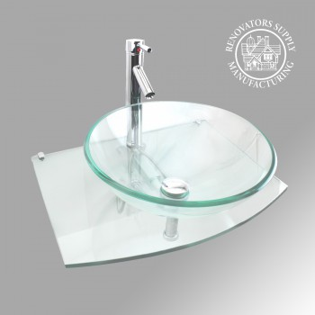 Halo Wall Mount Glass Sink - Glass sinks, Glass sink info & unique Glass accessories, quantity discounts on Glass sinks, Glass pedestal sinks, Glass wall mount sinks, Glass console sinks, counter top Glass sinks, Glass counter top sinks, Glass pedestal sinks, bathroom fixtures, Glass bathroom sinks, sink faucets & free shipping by Renovator's Supply.