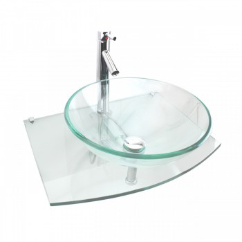 Unique Clear Durable Wall Mount Tempered Glass Vessel Sink