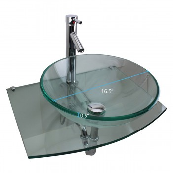 "spec-<PRE>Halo 23 1/2"" Glass Wall Mounted Bathroom Sink with Counter Faucet and Drain </PRE>"