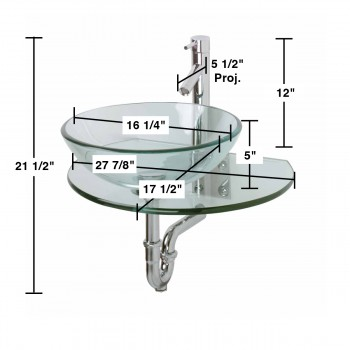 spec-<PRE>Renovator's Supply Clear Durable Tempered Wall Mount Glass Vessel Console Sink</PRE>
