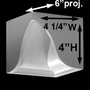spec-<PRE>Crown Molding Corner Block Divider White Urethane 4&quot; </PRE>