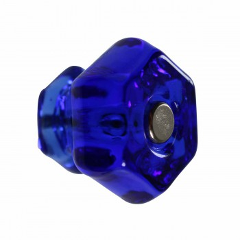 Cabinet Knob Blue Glass 1 1/4