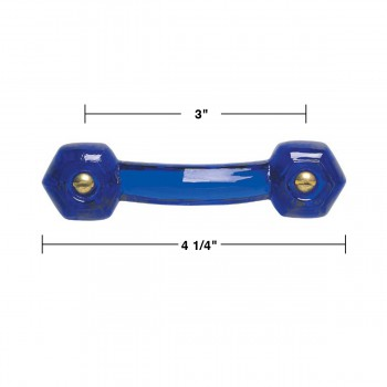 spec-<PRE>Cobalt Glass Drawer Pull Cabinet Handle 3&quot; Boring  </PRE>