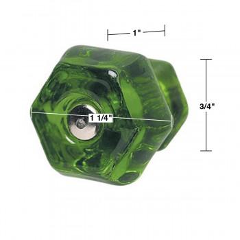 spec-<PRE>Cabinet Knob Forest Green Glass 1 1/4&quot; Dia W/ Chrome Screw </PRE>