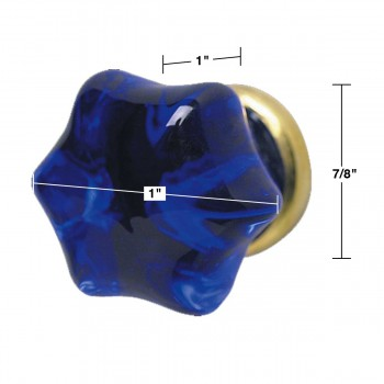 "spec-<PRE>Cabinet Knob Blue Glass 1"" Dia W/ Brass Shank </PRE>"