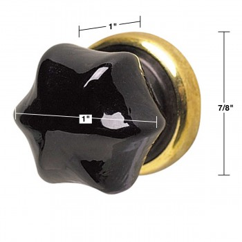 "spec-<PRE>Cabinet Knob Black Glass 1"" Dia W/ Brass Back </PRE>"