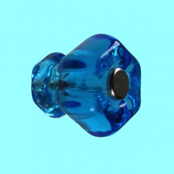 Cabinet Knob Peacock Blue Glass 1 Dia Round Kitchen Cabinet Knob Modern Peacock Blue Knob Hexagonal Decorative Dresser Hardware  Knobs