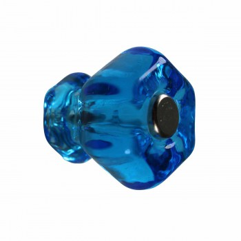 Cabinet Knob Peacock Blue Glass 1 Dia